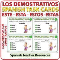Los Adjetivos Demostrativos - Este, Esta, Estos, Estas - Spanish Task Cards - Demonstrative Adjectives
