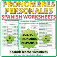 Spanish subject pronouns worksheets - pronombres personales
