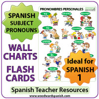 Spanish subject pronouns flash cards and charts